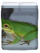 Green Tree Toad Duvet Cover