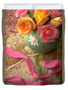 Green Vase With Roses Duvet Cover