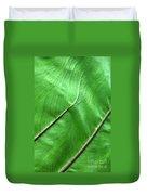 Green Veiny Leaf 2 Duvet Cover