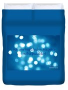 Greeting Card Blue With White Lights Duvet Cover