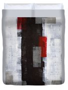 Power Trip - Grey And Red Abstract Art Painting Duvet Cover