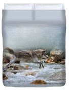 Grey Wolf Jumping Over A Mountain Stream Duvet Cover