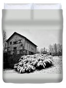 Grist Mill In Winter - Hdr Duvet Cover