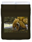 Grizzly Bear And Cubs Duvet Cover