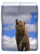 Grizzly Bear Roaring Duvet Cover
