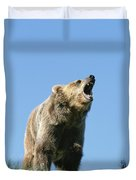 Grizzly Bear Vocalizing Duvet Cover