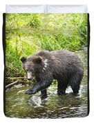 Grizzly Cub Catching Fish In Fish Creek Duvet Cover