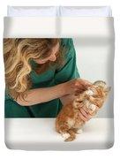 Grooming A Kitten Duvet Cover