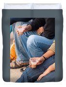 Group Of Teenagers Sitting And Drinking Tea Duvet Cover