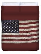 Grungy Textured Usa Peace Sign Flag Duvet Cover