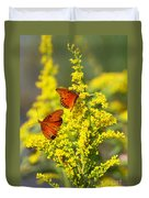 Gulf Fritilaries On Golden Rod Duvet Cover
