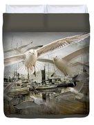 Gulls In The Harbor Duvet Cover