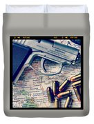 Gun And Bullets On Map Duvet Cover