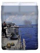 Gunner Fires A Mark 38 Machine Gun Duvet Cover