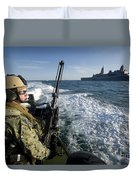 Gunner Mans A .50-caliber Machine Gun Duvet Cover