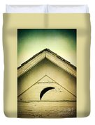 Half Moon On Rurual Outhouse Duvet Cover