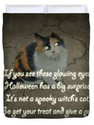 Halloween Calico Cat And Poem Greeting Card Duvet Cover