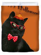 Halloween Card - Black Cat Ready To Party Duvet Cover