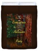 Halloween Party Invitation - Skeleton Duvet Cover