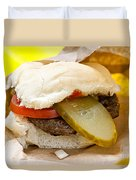 Hamburger With Pickle And Tomato Duvet Cover