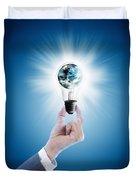 Hand Holding Light Bulb With Globe  Duvet Cover