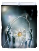 Hands With Atom In Capsule Duvet Cover