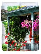 Hanging Baskets And Climbing Roses Duvet Cover