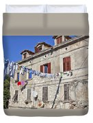 Hanging Out To Dry In Rovinj Duvet Cover