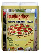 Happy Angkor Pizza Sign Duvet Cover