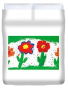 Happy Colorful Flowers Duvet Cover