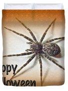 Happy Halloween Spider Greeting Card - Dolomedes Tenebrosus Duvet Cover