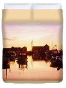 Harbor At Sunrise Duvet Cover by Bilderbuch