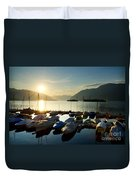 Harbor In Sunrise Duvet Cover