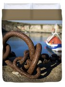 Harbour With Mooring And Fishing Boat Duvet Cover by John Short