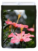 Hawaiian Pink Hibiscus Duvet Cover