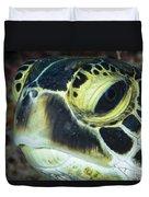 Hawksbill Sea Turtle Portrait Duvet Cover