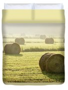 Hay Bales In Mist At Sunrise Duvet Cover