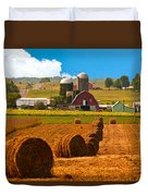 Hay Bales Leading To Barn Duvet Cover