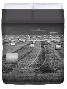 Hay Bales On A Farm In Alberta Duvet Cover