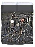 Hdr Image Of A Uh-60 Black Hawk Door Duvet Cover