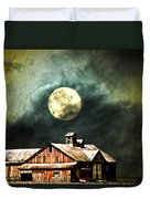 Hdr Moon And Barn Duvet Cover