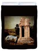 Head At Temple Of Castor And Pollux Duvet Cover