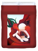 Healing Painting Baby Sitting In A Rose Detail Duvet Cover