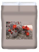 Hedgehog Cactus With Red Blossoms Duvet Cover