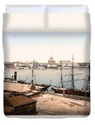 Helsinki Finland - Russian Cathedral And Harbor Duvet Cover