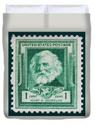 Henry W Longfellow Postage Stamp Duvet Cover