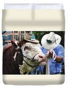 Hereford Bull With Akubra Hat In Hyde Park Duvet Cover by Kaye Menner