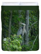 Heron On A Limb Duvet Cover