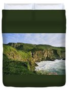 High Angle View Of A Coast, County Duvet Cover