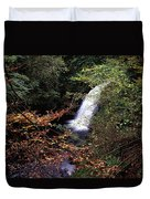 High Angle View Of A Waterfall, Glenoe Duvet Cover